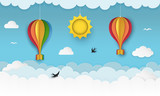 Clear blue sky with clouds, flying birds, hanging sun and hot air balloons with bows. Swallows flying in the sky. Paper craft summer scenery background. Cute cartoon wallpaper. Vector Illustration.