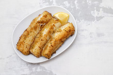 Fried Strips Cuttlefish On White Dish