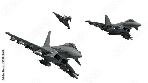 military fighter jet - armed military fighter jet isolated on white background Tableau sur Toile