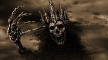 Dark Queen Pulls Bony Hand. Monochrome Background