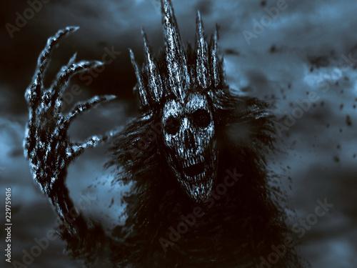 Photo Dark queen pulls bony hand. Blue background