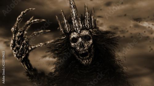 Photo Dark queen pulls bony hand. Monochrome background