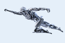 Robot Superhero Flying. Android, Humanoid Or Cyborg Power Technology Concept. 3D Illustration.