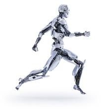 A Robot Jogger Running. Sport Fitness Concept. 3D Illustration