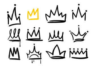 Various doodle crowns. Hand drawn vector set. All elements are isolated