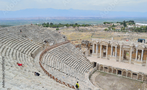 Foto op Canvas Theater Scene of ancient theater with sculptures of mythical heroes in the ancient Turkish city of Hieropolis