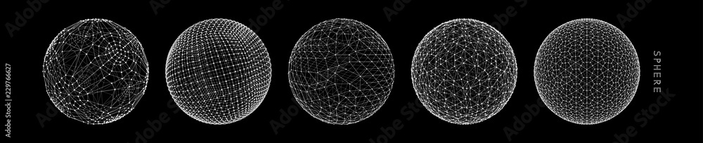 Fototapety, obrazy: Sphere with connected lines. Global digital connections. Wireframe illustration. Abstract 3d grid design. Technology style.