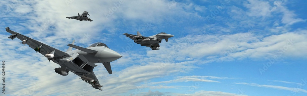 Fototapeta military fighter jets - modern armed military fighter jets flys in formation