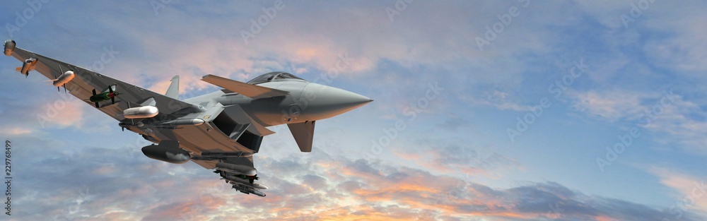 Fototapety, obrazy: military fighter jets - modern armed military fighter jets flys in the sky