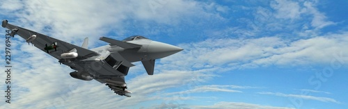 military fighter jets - modern armed military fighter jets flys in the sky Poster Mural XXL