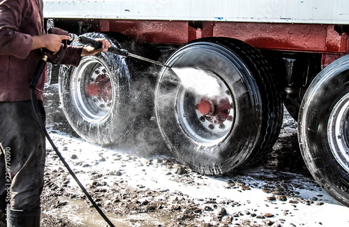 Truck washing close-up