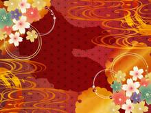 金の波と赤の和柄の背景