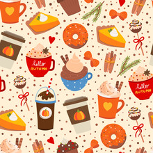 Pumpkin Spice. Various Tasty Stuff. Colored Vector Seamless Pattern. Beige Background