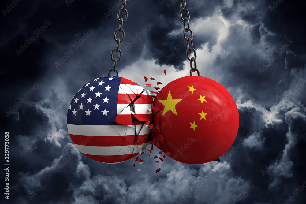 Fototapeta Relationship conflict between USA and China. Trade deal concept. 3D Rendering