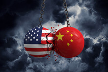 Relationship Conflict Between USA And China. Trade Deal Concept. 3D Rendering