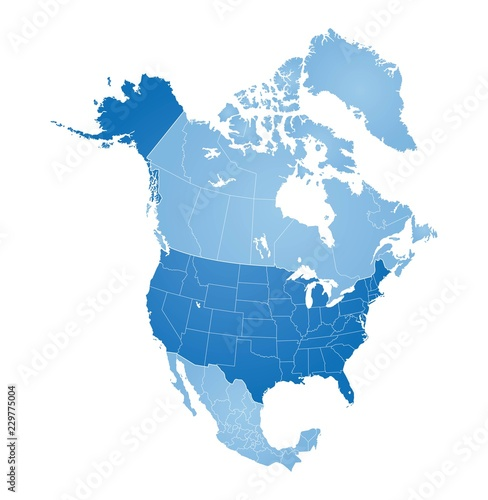 United States Canada Greenland Map Map of North America, USA, Canada, Mexico and Greenland   Buy this