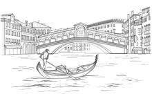 Sketch Of Venetian Gondola Wit...