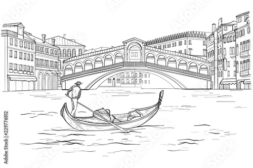 Fotografie, Tablou Sketch of Venetian gondola with gondolier, Realto bridge