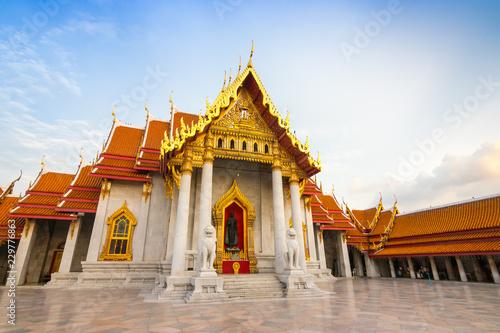 Poster Bangkok The Marble Temple , Wat Benchamabophit Dusitvanaram in Bangkok, Thailand. Unseen Thailand.