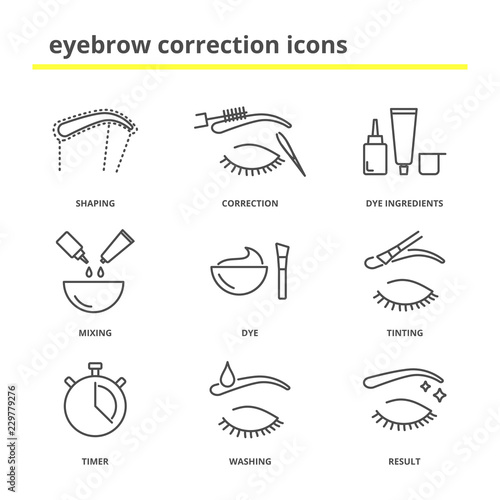 Eyebrow correction icons set