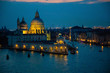 Night view of Grand Canal and basilica di santa maria della salute in Venice in Italy