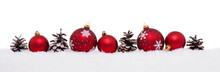 Red Baubles And Pine Cones Isolated On Snow, Christmas Banner