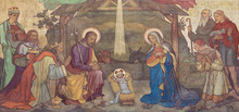 PRAGUE, CZECH REPUBLIC - OCTOBER 17, 2018: The Fresco Of Adoration Of Magi And Nativity In The Church Kostel Svateho Cyrila Metodeje Probably By Gustav Miksch And Antonin Krisan (19. Cent.).