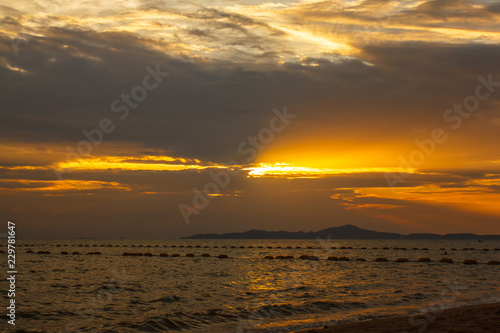 Pataya sunset on the beach. Thailand