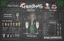 Vintage Chalk Drawing Christmas Menu Design With Champange. Restaurant Menu