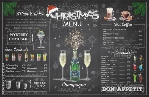 Obraz Vintage chalk drawing christmas menu design with champange. Restaurant menu - fototapety do salonu