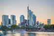 Sunset skyline with Frankfurt embanment