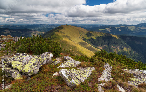 nature landscape in rodnei mountains on a beautiful cloudy autumn day