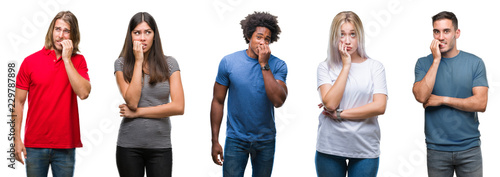 Fototapeta Composition of african american, hispanic and caucasian group of people over isolated white background looking stressed and nervous with hands on mouth biting nails. Anxiety problem. obraz
