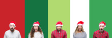 Collage Of Group Of People Wearing Christmas Hat Over White And Green Isolated Background Afraid And Shocked With Surprise Expression, Fear And Excited Face.