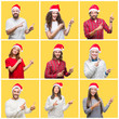 Collage of group of young people wearing christmas hat over yellow isolated background smiling and looking at the camera pointing with two hands and fingers to the side.