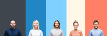 Collage Of Casual Young People Over Colorful Stripes Isolated Background With A Happy And Cool Smile On Face. Lucky Person.