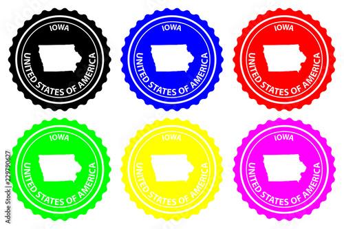 Purple America Map.Iowa Rubber Stamp Vector Iowa United States Of America Map