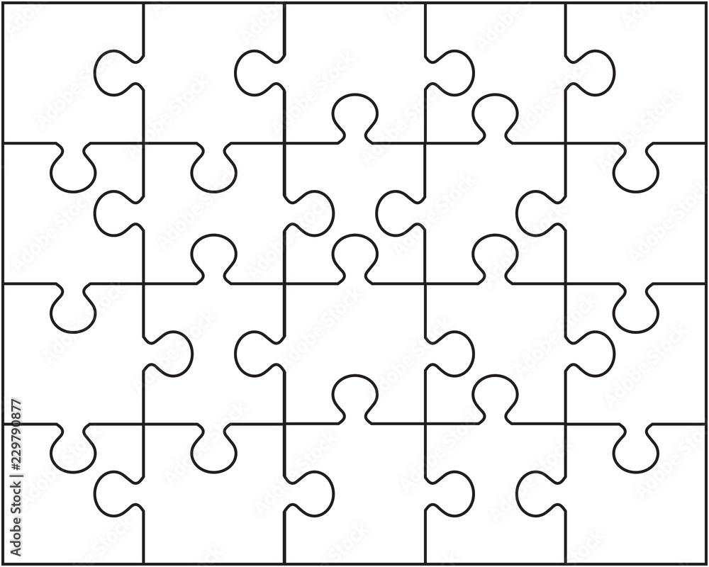 Fototapeta Vector illustration of white puzzle, separate pieces