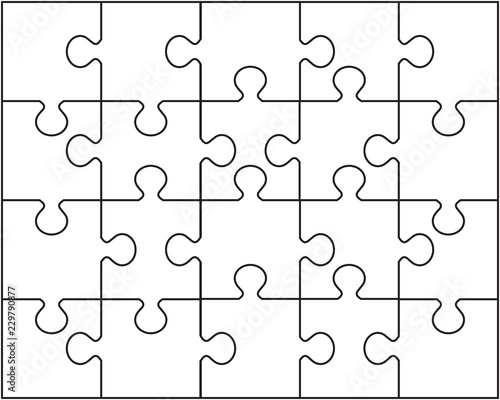 fototapeta na lodówkę Vector illustration of white puzzle, separate pieces