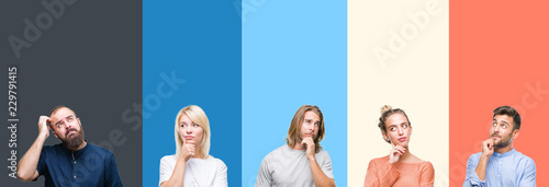 Fotomural  Collage of casual young people over colorful stripes isolated background with hand on chin thinking about question, pensive expression