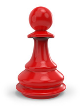 Single Red Classic Chess Pawn