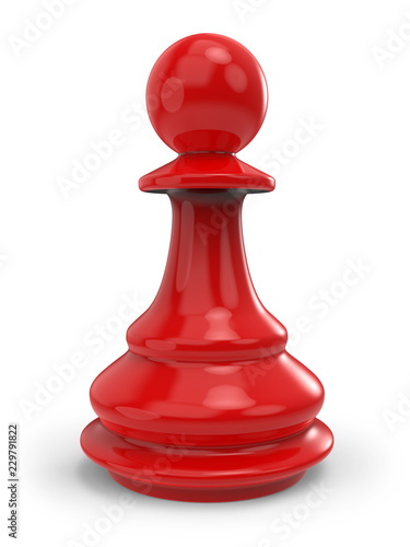 Fotografie, Obraz Single red classic chess pawn