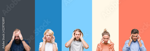 Fotografie, Obraz  Collage of casual young people over colorful stripes isolated background with hand on head for pain in head because stress