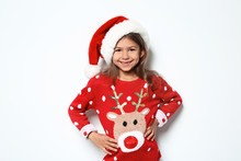 Cute Little Girl In Christmas ...