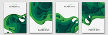 Banners Set 3D Abstract Background, Green Paper Cut Shapes. Vector Design Layout For Business Presentations, Flyers, Posters And Invitations. Carving Art, Environment And Ecology Elements