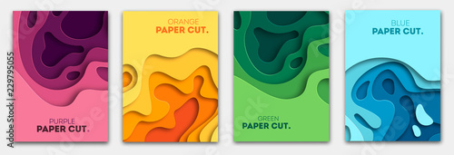 Fototapeta Vertical banners set with 3D abstract background and paper cut shapes