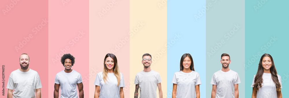 Fototapety, obrazy: Collage of different ethnics young people wearing white t-shirt over colorful isolated background with a happy and cool smile on face. Lucky person.