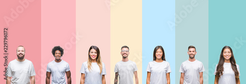 Obraz Collage of different ethnics young people wearing white t-shirt over colorful isolated background with a happy and cool smile on face. Lucky person. - fototapety do salonu