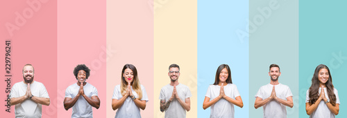 Photo  Collage of different ethnics young people wearing white t-shirt over colorful isolated background praying with hands together asking for forgiveness smiling confident