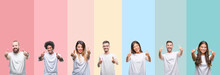Collage Of Different Ethnics Young People Wearing White T-shirt Over Colorful Isolated Background Approving Doing Positive Gesture With Hand, Thumbs Up Smiling And Happy For Success